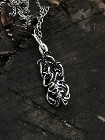 Mushrooms and deaths head necklace