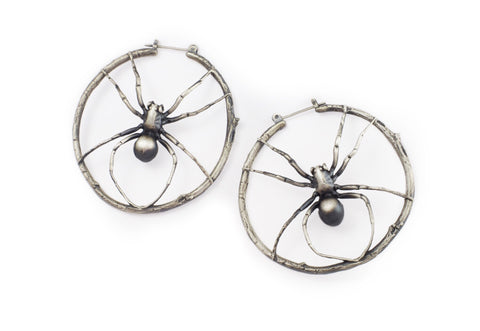 Wolf spider hoop earrings