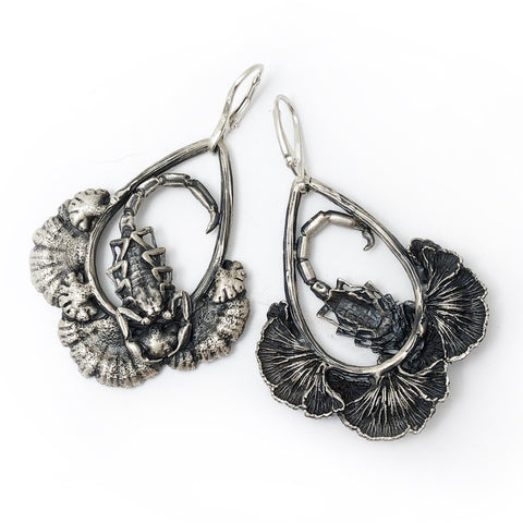 Scorpion and split gill mushroom earrings