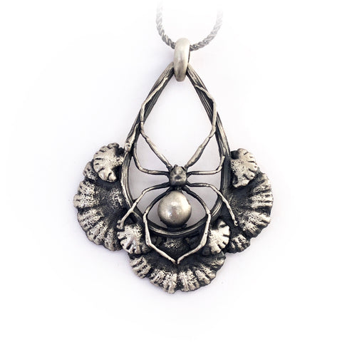 Black widow spider and split gill mushroom necklace
