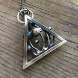 mushroom patch triangle necklace