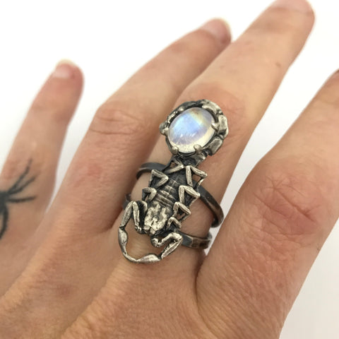 Scorpion and moonstone ring