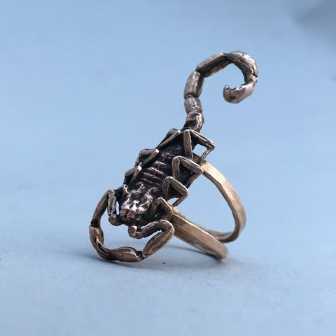 Solid gold scorpion ring