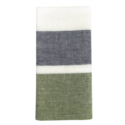 Bold Stripe Linen Evergreen Towels, Set of 2