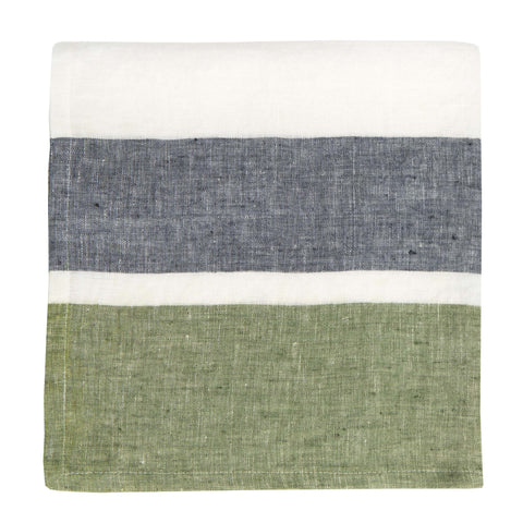 Bold Stripe Linen Evergreen Napkins, Set of 4