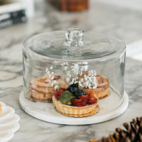 Marble Plate & Glass Dome
