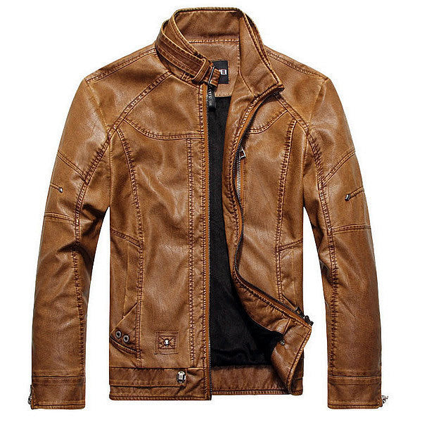 Biker Leather Jacket - Light Brown