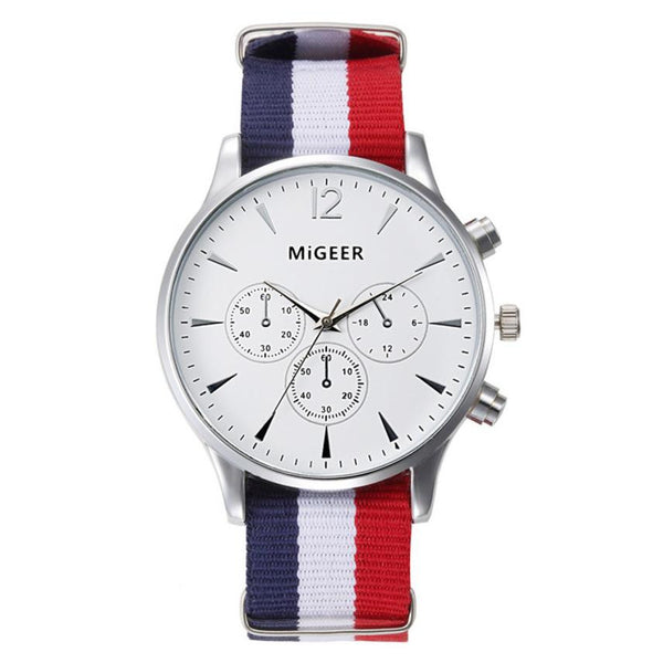 MiGEER Francois White and Silver Luxury Quartz Watch