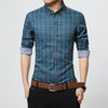Slim Fit Long Sleeve Lake Blue Plaid Shirt