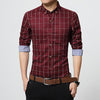 Slim Fit Long Sleeve Red Plaid Shirt
