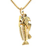 FISH SKELETON AND HOOK PENDANT NECKLACE