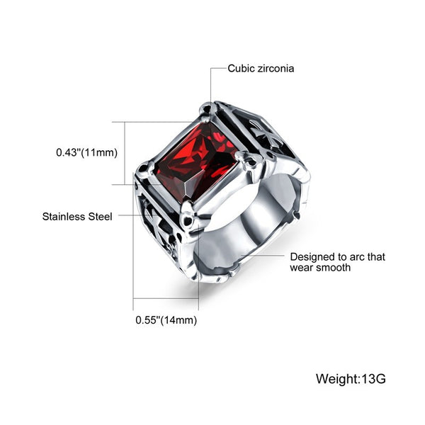 Punk Cubic Zirconia Ring - Red