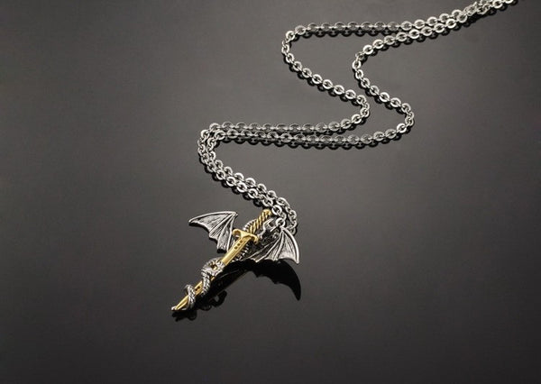 Pterosaur Silver and Gold Sword Pendant Necklace
