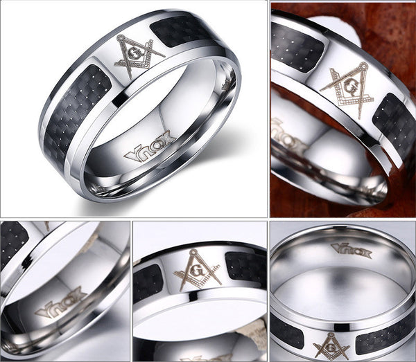 Masonic 8mm Black and Silver Stainless Steel Ring