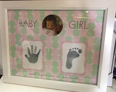 SWEET IMPRESSIONS BABY GIRL HAND & FOOTPRINT FRAME
