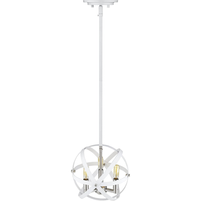 Cavallo Hammered White and Brushed Nickel Chandelier - Chandelier