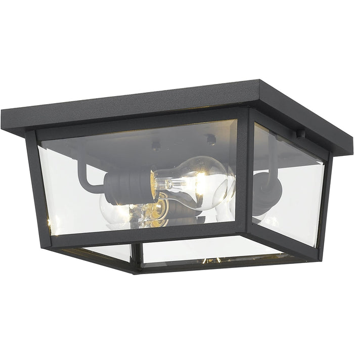 Beacon Black Outdoor Flush Ceiling Mount Fixture - Outdoor Flush Ceiling Mount Fixture
