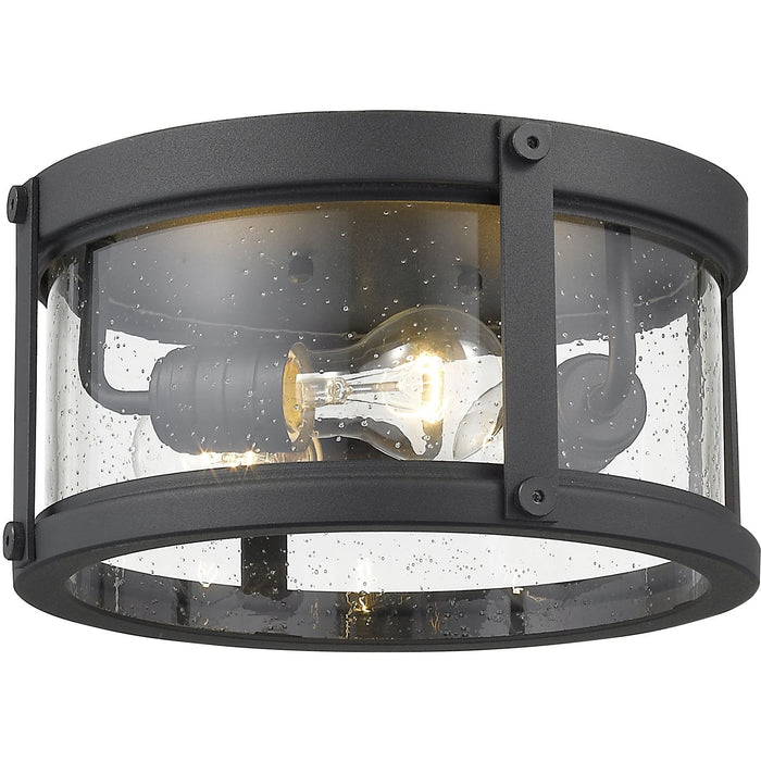 Roundhouse Black Outdoor Flush Ceiling Mount Fixture - Outdoor Flush Ceiling Mount Fixture
