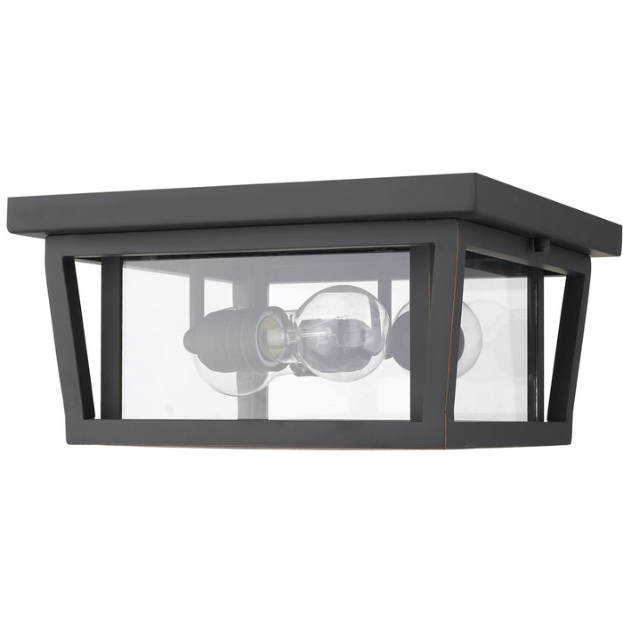 Seoul Oil Rubbed Bronze Outdoor Flush Ceiling Mount Fixture - Outdoor Flush Ceiling Mount Fixture