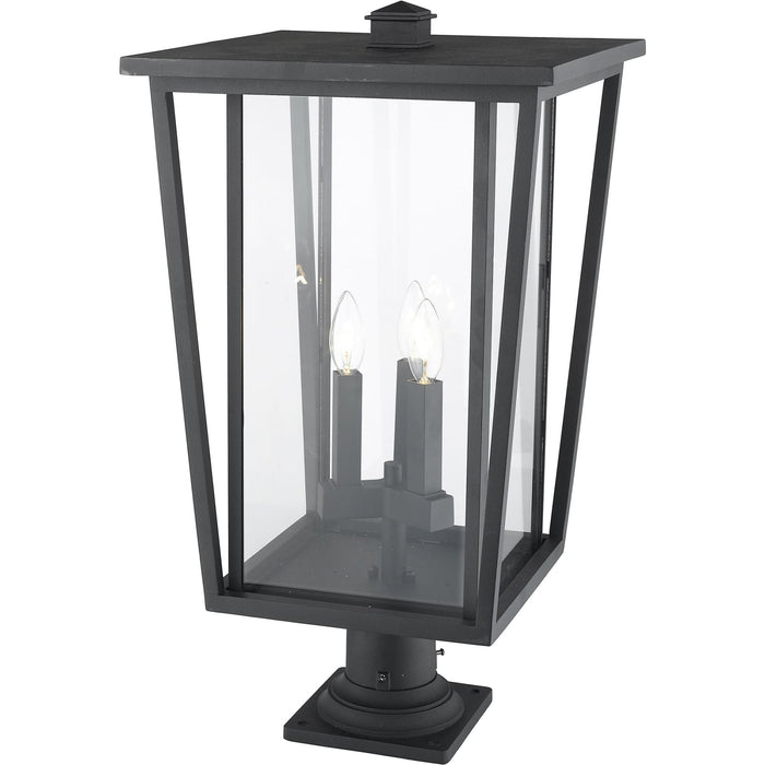 Seoul Black Outdoor Pier Mounted Fixture - Outdoor Pier Mounted Fixture