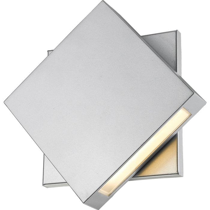 Quadrate Silver LED Outdoor Wall Sconce - Outdoor Wall Sconce