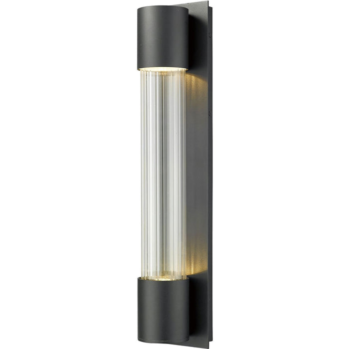 Striate Black LED Outdoor Wall Sconce - Outdoor Wall Sconce
