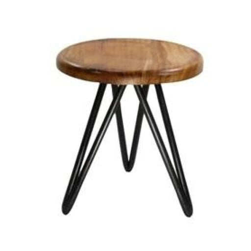 HARPOON WOOD AND IRON STOOL - NATURAL