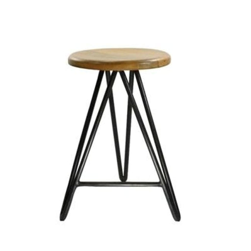 HARPOON WOOD AND IRON COUNTER STOOL - NATURAL