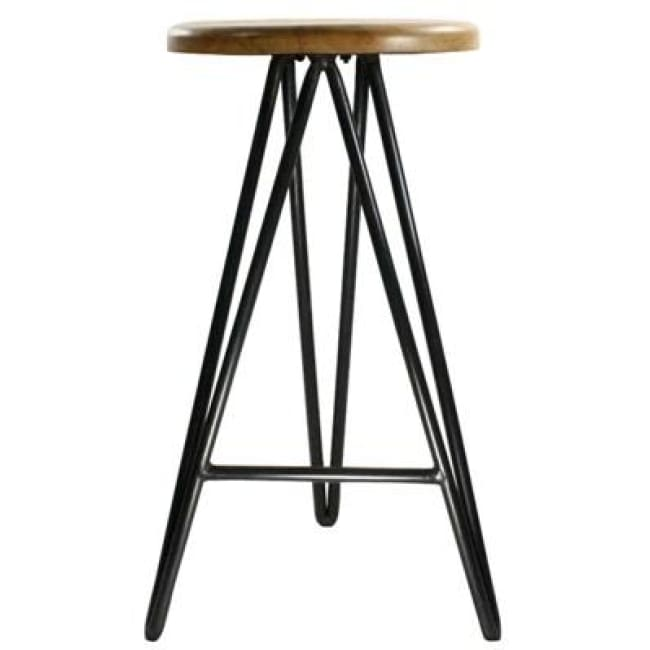 HARPOON WOOD AND IRON BAR STOOL - NATURAL