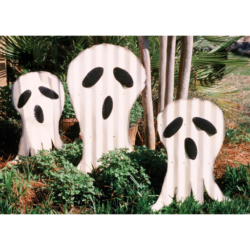 Halloween Ghosts Yard Art Corrugated Metal - Holiday_Halloween