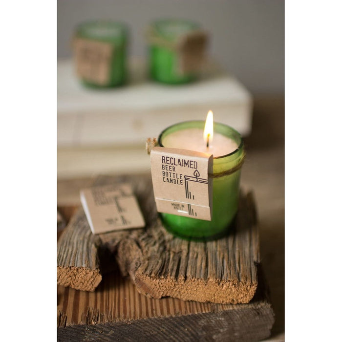 Recycled Green Glass Beer Bottle Candle