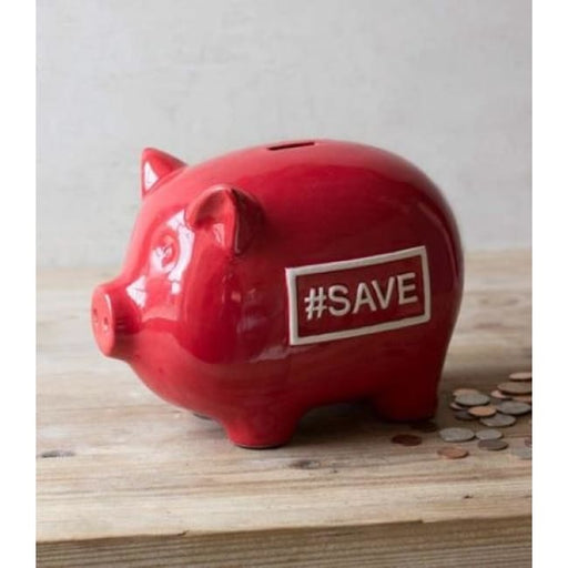 Ceramic Red Large Piggy Bank