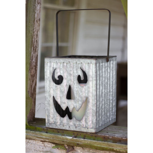 Square Corrugated Metal Jack-o-Lantern Luminary - Holiday_Halloween