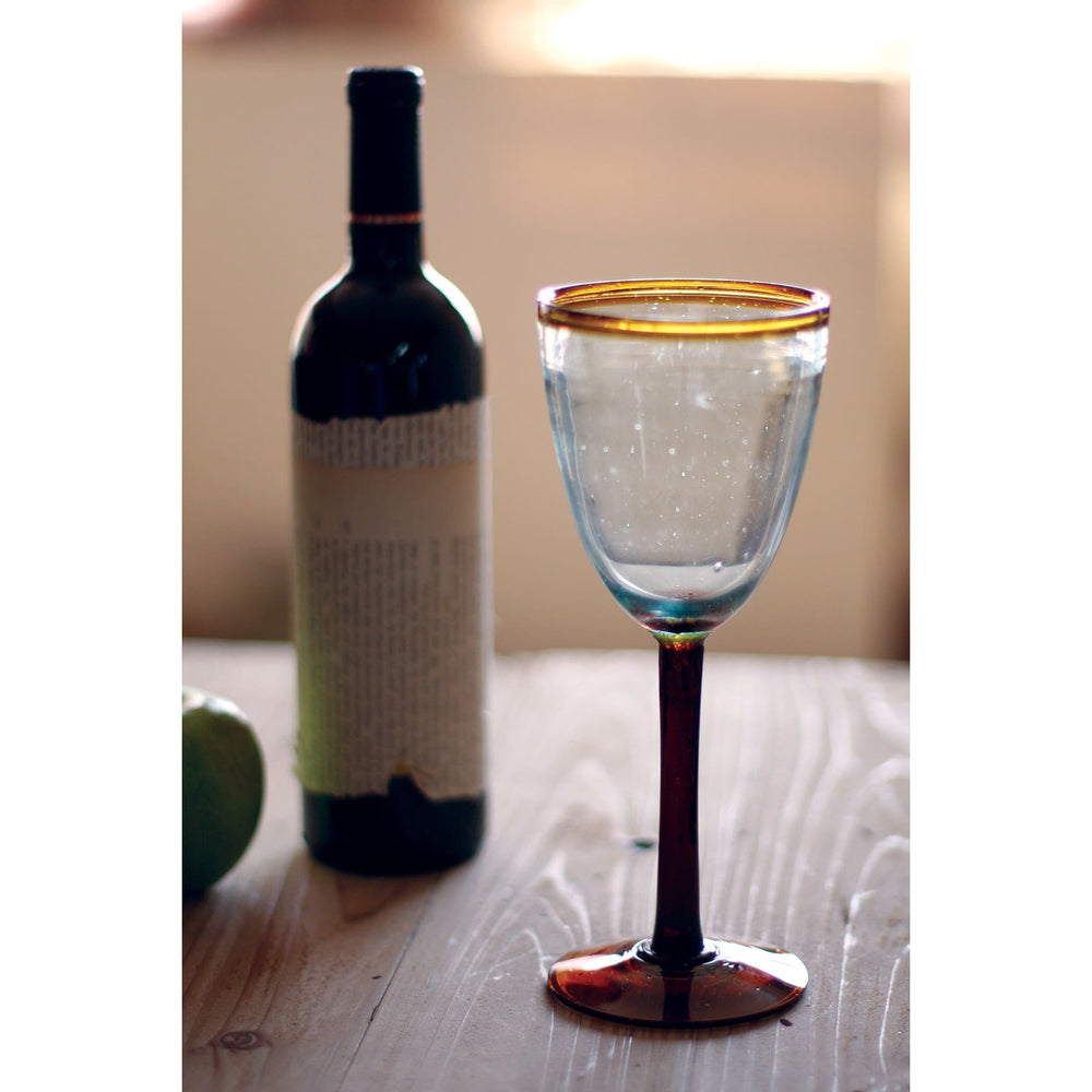 Wine Glass Recycled Glass Amber Rim - Glassware_Wine