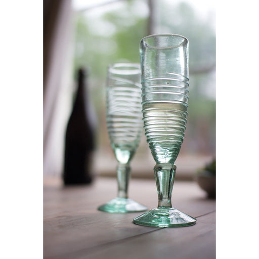 Champagne Flutes Recycled Swirl - Glassware_Champagne