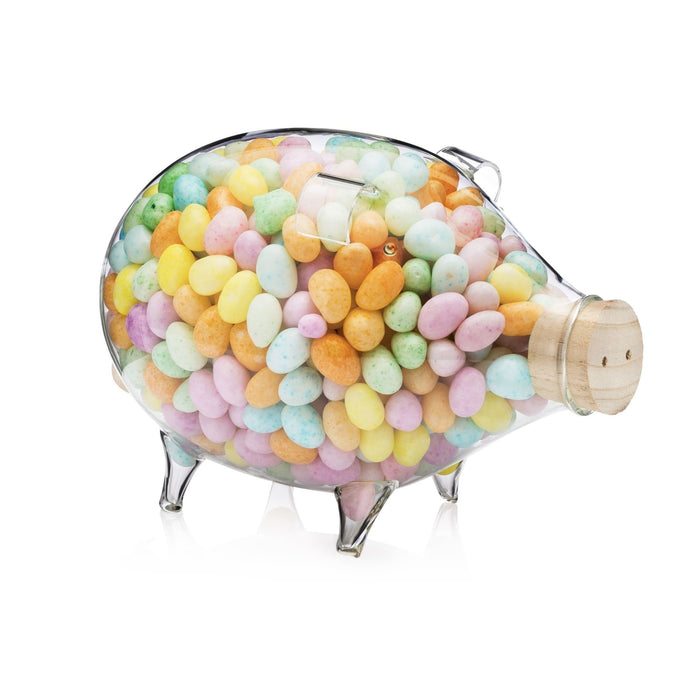 Clear Glass Piggy Bank Large