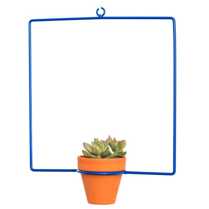 Hanging Square Blue Planter - Planters_Hanging