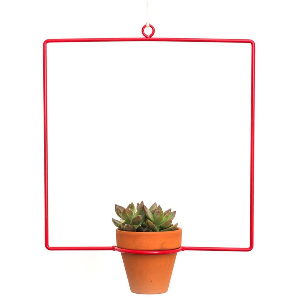 Hanging Square Red Planter - Planters_Hanging