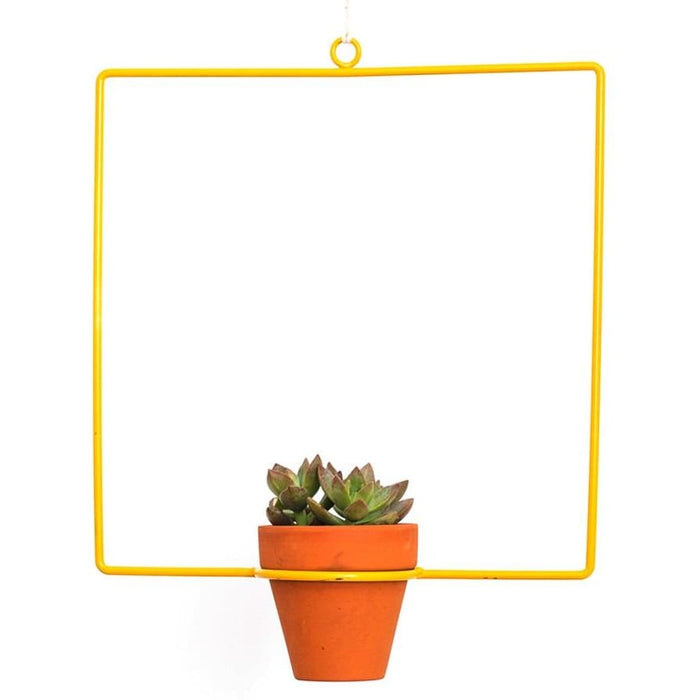 Hanging Square Yellow Planter - Planters_Hanging