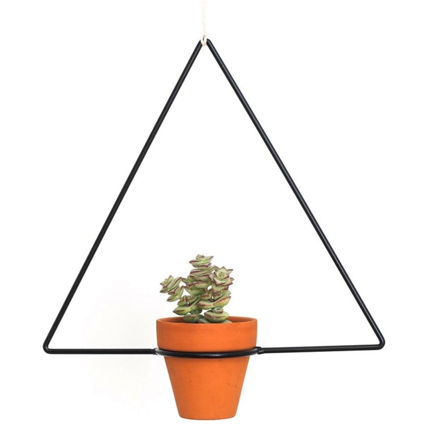Hanging Triangle Black Planter - Planters_Hanging