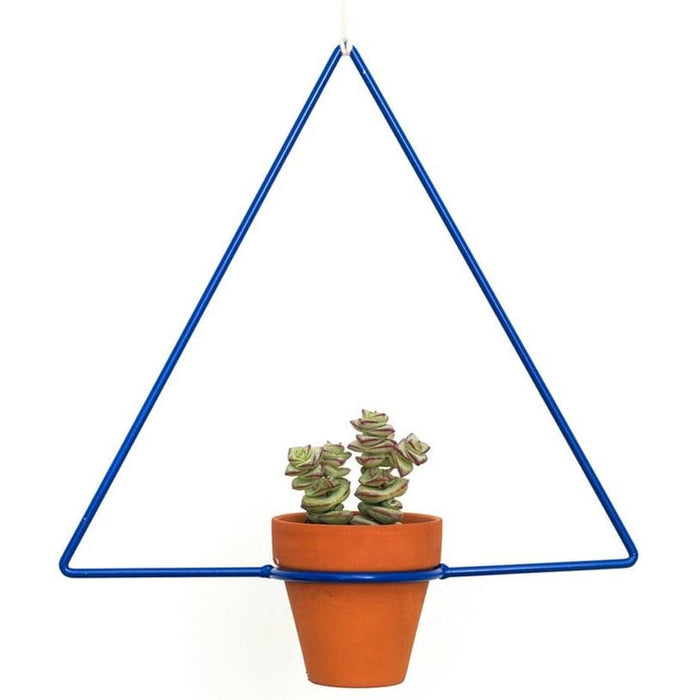 Hanging Triangle Blue Planter - Planters_Hanging