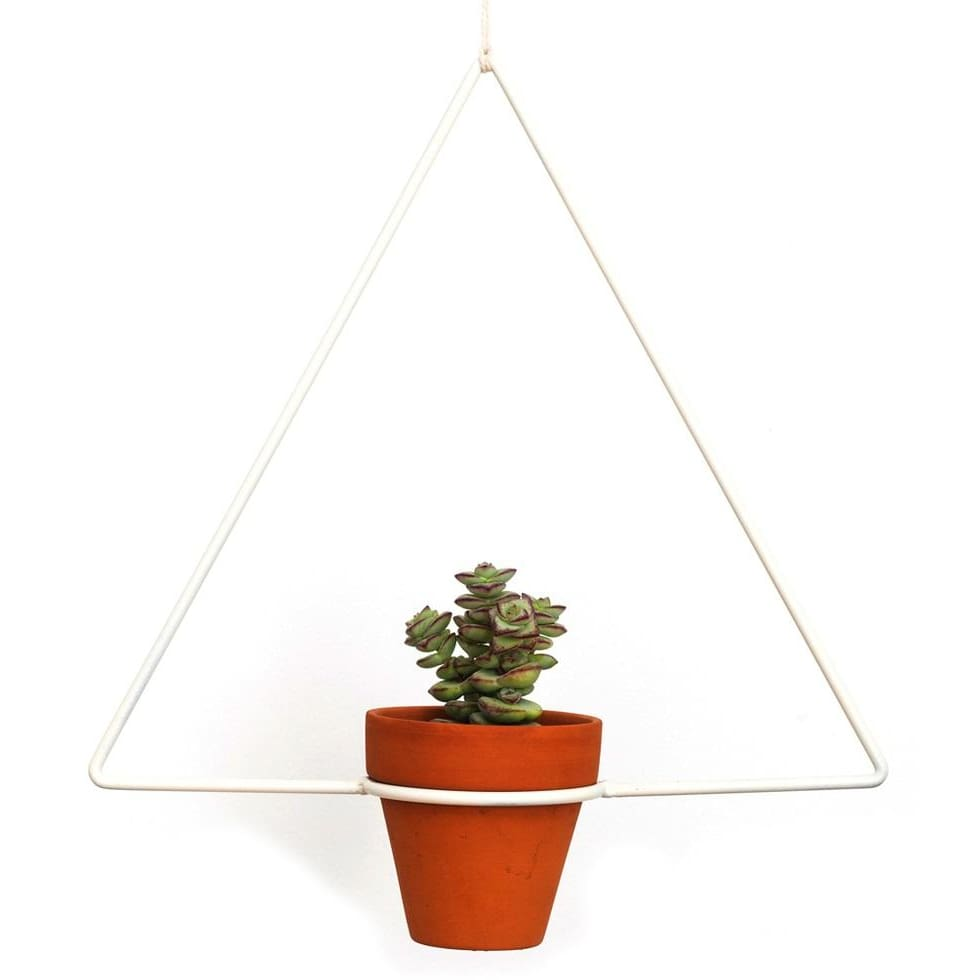 Hanging Triangle White Planter - Planters_Hanging
