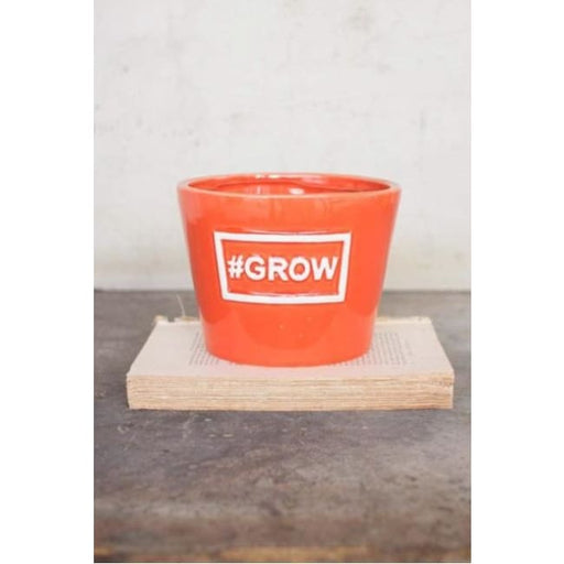 Ceramic Grow Orange Vase Pot