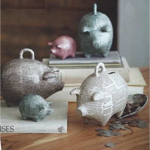 Papier Mache Piggy Bank Ornaments