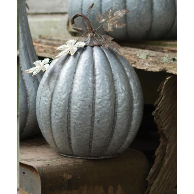 Galvanized Small Rustic Pumpkin - Holiday_Halloween