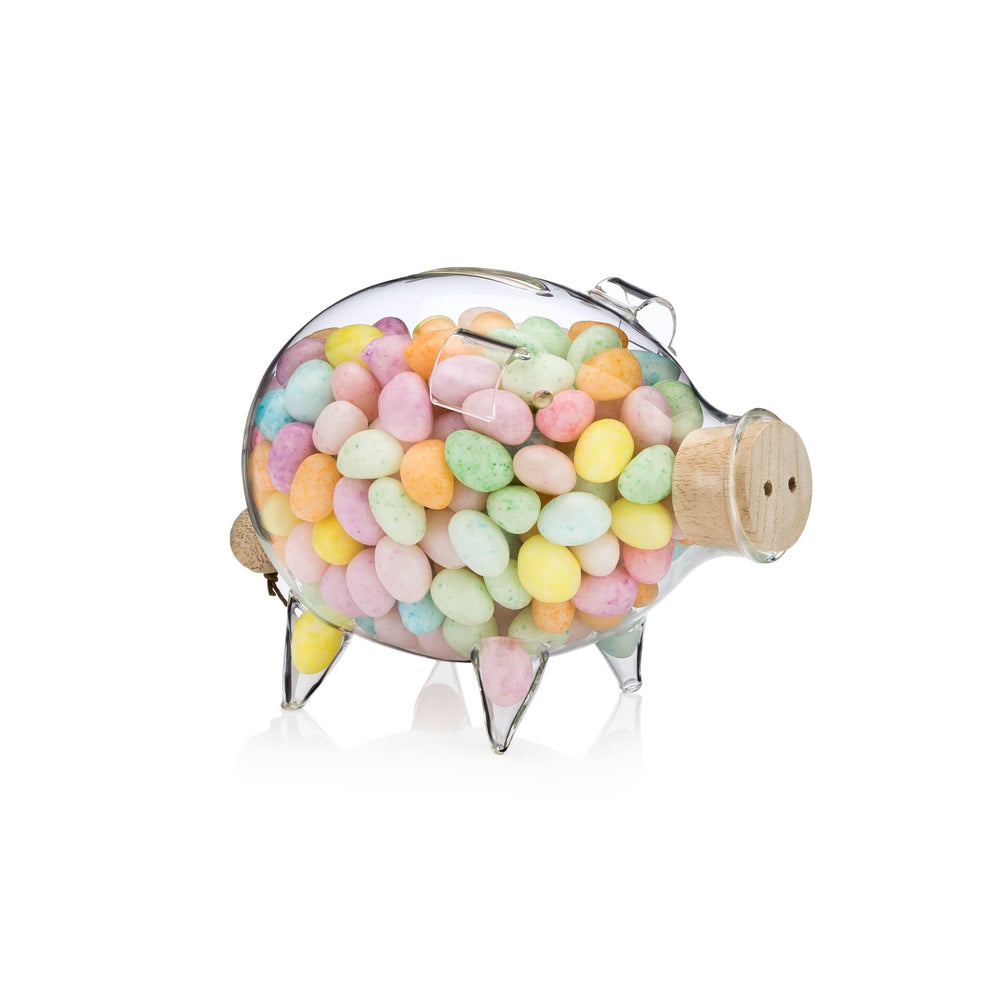 Clear Glass Piggy Bank Small