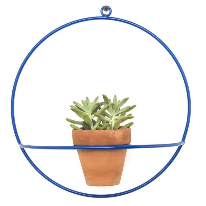 Wall Circle Blue Planter - Planters_Wall