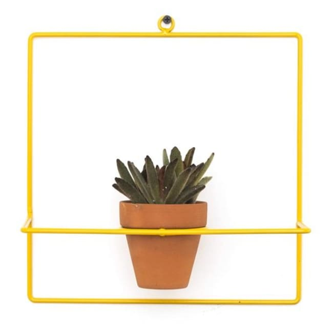Wall Square Yellow Planter - Planters_Wall
