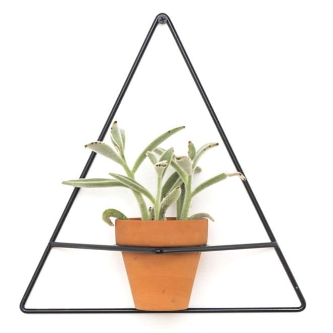 Wall Triangle Black Planter - Planters_Wall