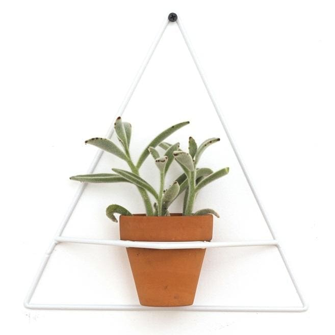 Wall Triangle White Planter - Planters_Wall
